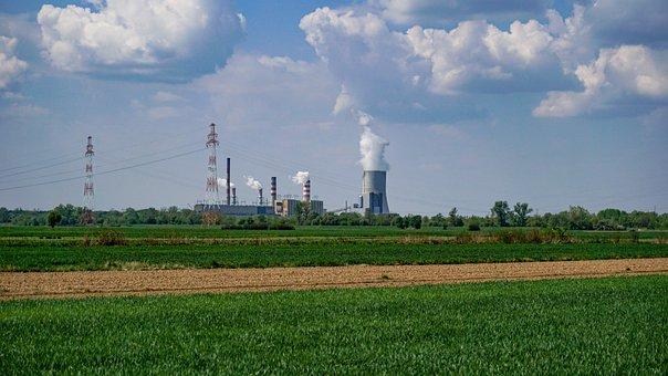 Factory, Chimneys, Field, Industry, Smoke, Electricity