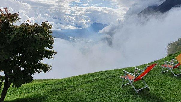 Mountains, Fog, Chairs, Seats, Rest, Grass, Peak