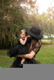 Mother, Daughter, Black Dresses, Fashion, Style, Hat