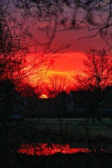 Sunrise, Village, Houses, Buildings, Sunlight, Dawn
