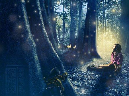 Forest, Girl, Women, Gnomes, Tree, Storks, Thinking
