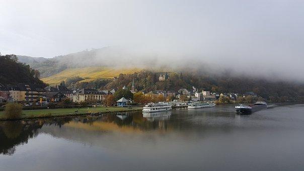 Town, River, Fog, Boats, Ship, Port, Hills, Vineyards