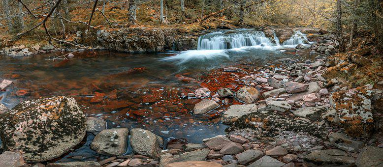 Waterfall, River, Autumn, Forest, Stones, Panorama