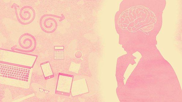Pink, Woman, Brain, Computer, Desktop, Thinking, Work