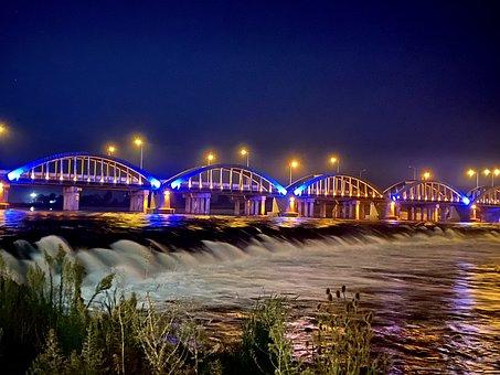 Bridge, River, Waterfalls, Night Lights, Landscape