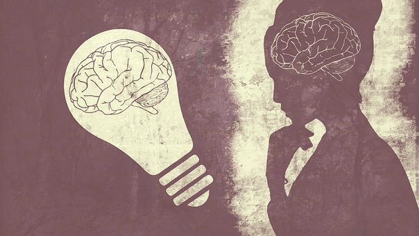 Woman, Brain, Bulb, Thought, Purple, Thoughts