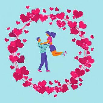 Hearts, Frame, Couple, Circle, Border, Romantic, Love