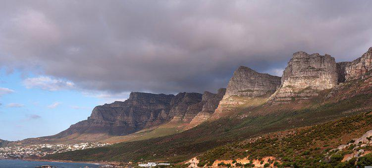 South Africa, Mountains, Coast, Cloudy, Sky, Clouds