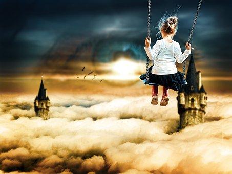 Child, Swing, Clouds, Fantasy, Girl, Kid, Leisure