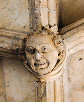 Face, Carved, Sculpture, Christianity, Smile, Ancient