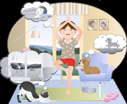 Yoga, Girl, Living Room, Home, Exercise, Fitness