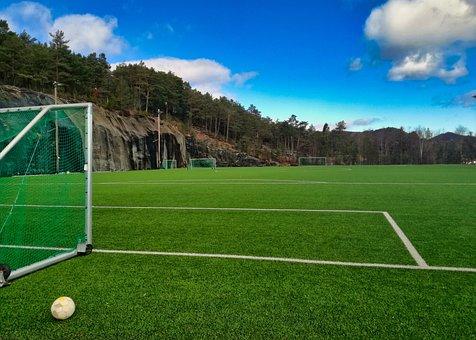 Ball, Football Field, Grass, Sport, Game, Play, Clouds