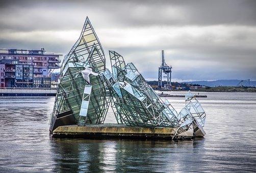 Sculpture, Opera House, Building, Modern, Seagull, Oslo