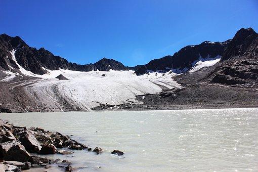 Lake, Mountains, Glacier, Snow, Glacial Lake