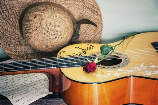 Guitar, Hat, Letter, Music, Play, Chord, Red Rose
