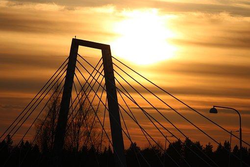 Bridge, Silhouette, Sunset, Sky, Architecture, Evening