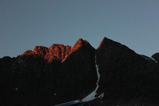 Mountains, Summit, Sunset, Sunlight, Afterglow
