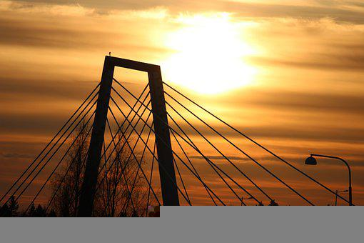 Bridge, Silhouette, Sunset, Sky, Architecture, Evening