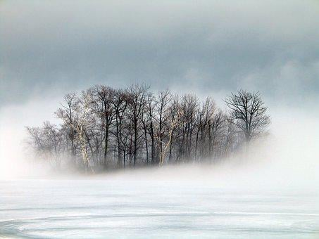 Island, Fog, Winter, Berkshires, Morning, Dreamy