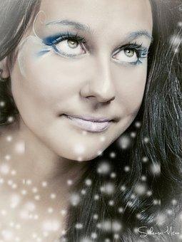 Face, Portrait, Brunette, Looking Up, Winter