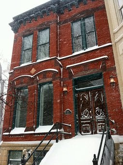 Chicago, Illinois, Winter, Snow, Snowing, Building