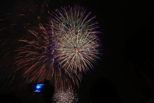 Fireworks, White, Red, Green, Light, Color