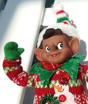 Elf, Doll, Holiday, Snow Man, Sweater