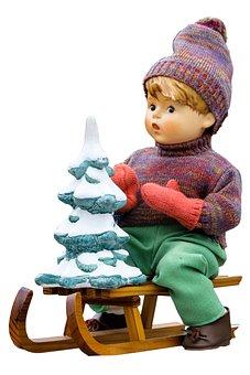 Slide, Doll, Porcelain Doll, Fir Tree, Sleigh Ride