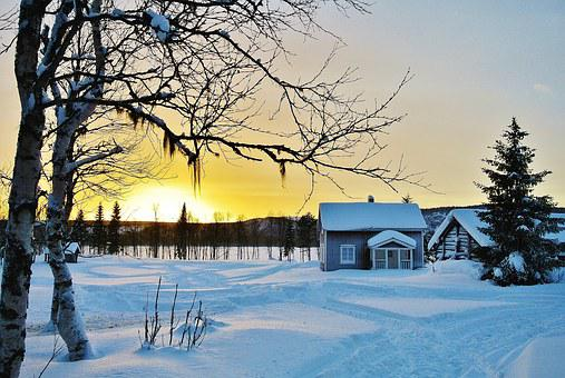 Norrland, Snow, Himmel, Winter, House, Wood, By, Sunset