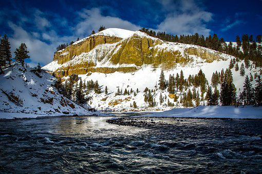 Yellowstone River, Wyoming, National Park, Landscape