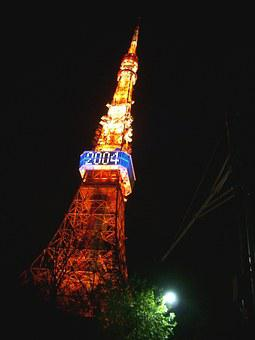 Tokyo Tower, Light Up, Tower, Happy New Year, Night