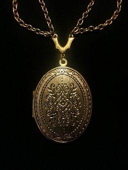 Jewelry, Necklace, Locket, Gold, Black Jewelry