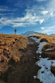 Mountain, Crossing, Path, Choice, Snow, Panel, Pencarte