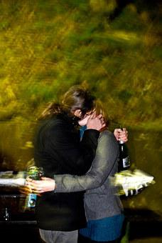 Man, Woman, Kiss, Kissing, Outside, Bottle, Green