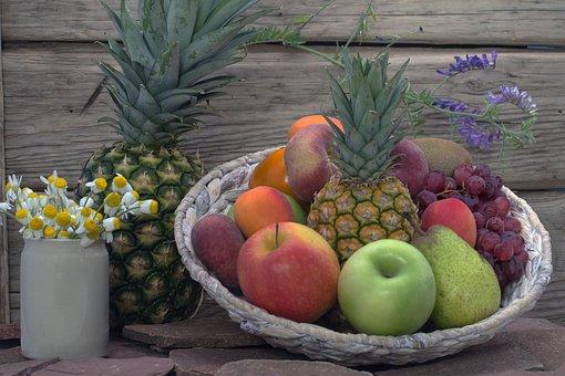 Still Life, Fruit, Pineapple, Flowers, Apricots, Basket