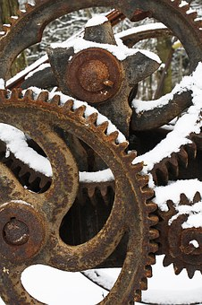 Gears, Wheels, Cog, Snow, Winter