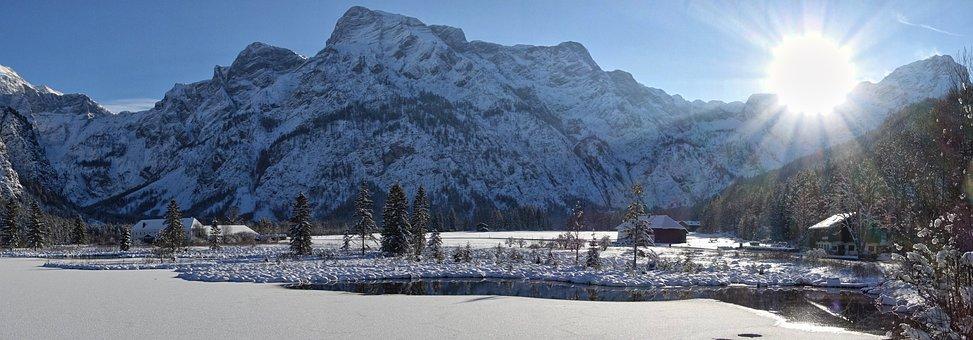 Grünau, Upper Austria, Winter, Almsee, Snow, Back Light