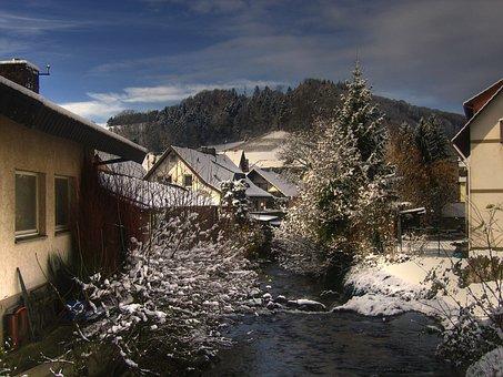 Black Forest, Village, Bach, Glottertal, Home, Snow