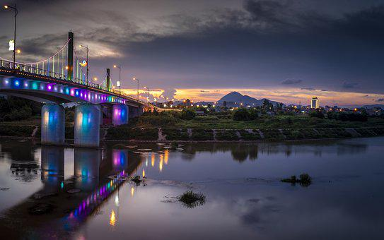 Bridge, River, Illuminated, Structure, Infrastructure