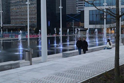 City, Fountain, Buildings, People, Path, Walkway