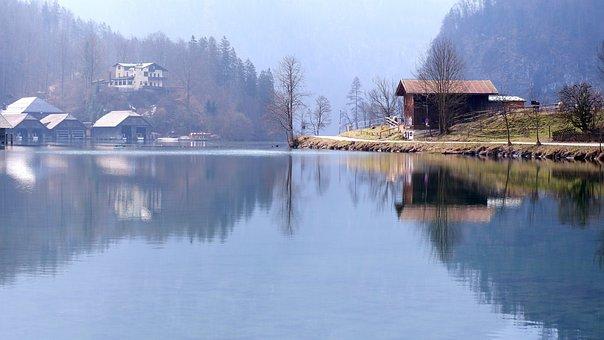 Lake, Cabins, House, Trees, Forest, Königssee, Bavaria