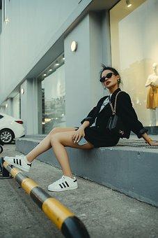 Girl, Woman, Model, Casual, Fashion, Sunglasses, Purse