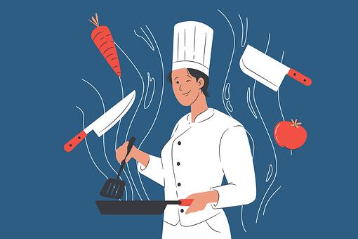 Chef, Woman, Man, Kitchen, Profession, Work, Cutlery