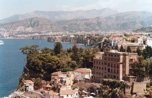 Town, Sea, Mountains, Sorrento, Buildings, Coast