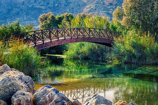 Bridge, River, Boulders, Wooden Bridge, Bach, Creek