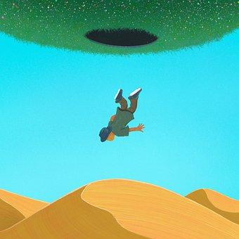 Desert, Man, Falling, Hole, Traveler, Sand Dunes