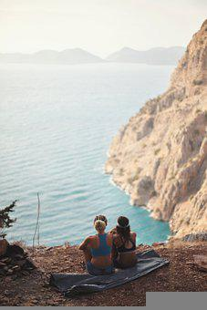 Turkey, Friends, Girls, Nature, Sea, Mountains, Rocks