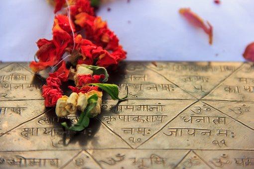 Yantra, Triangle, Metal, Flower, Gold, Decorative