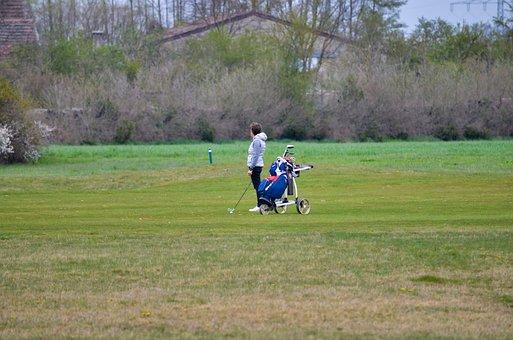 Golf Course, Golf Trolley, Golfer, Person, Golfing
