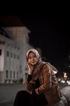 Woman, Hijab, Street, Night, Indonesian, Beautiful